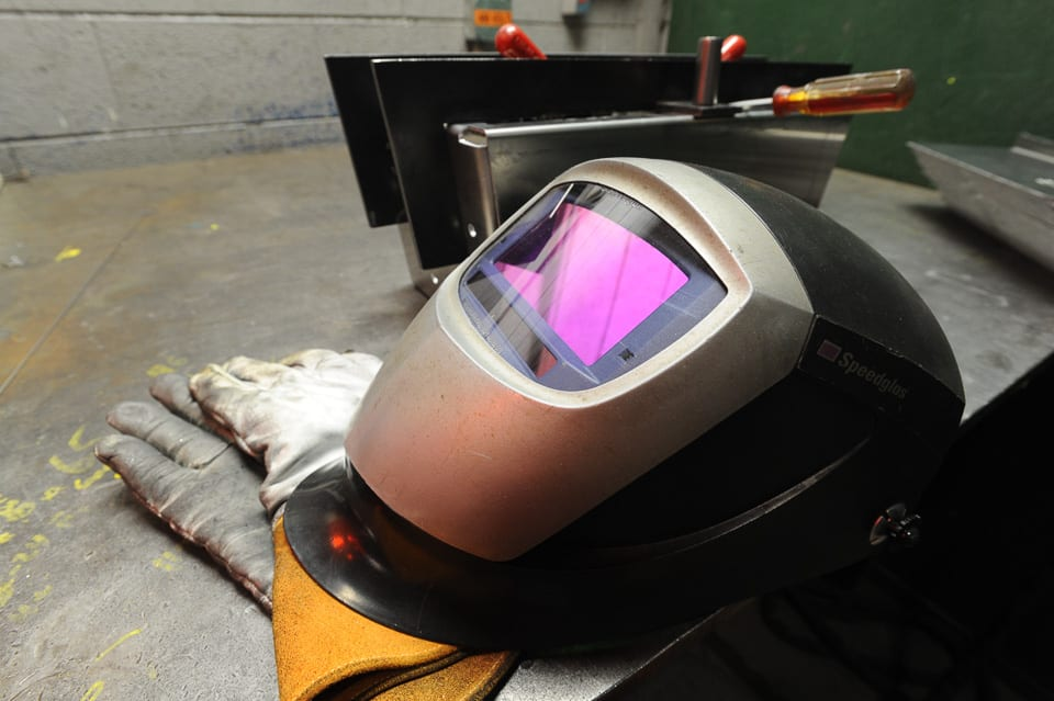 Welding Mask and Gloves at TIG Welding Station